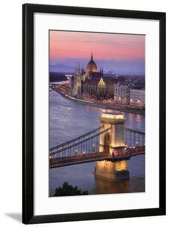 Chain Bridge and Parliament Building in Budapest-Jon Hicks-Framed Photographic Print