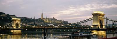 Chain Bridge, River Danube and Matyas Church at Dusk-Design Pics Inc-Photographic Print