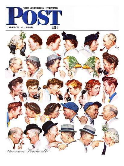 """""""Chain of Gossip"""" Saturday Evening Post Cover, March 6,1948-Norman Rockwell-Premium Giclee Print"""