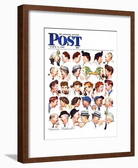 """""""Chain of Gossip"""" Saturday Evening Post Cover, March 6,1948-Norman Rockwell-Framed Giclee Print"""