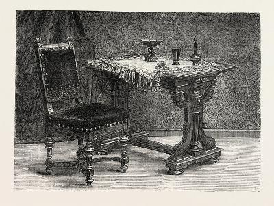 Chair and Table for Breakfast Room, Furniture, 1882--Giclee Print