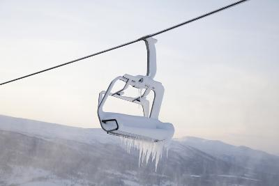 Chair Lift Full of Snow and Ice-Tiina & Geir-Photographic Print