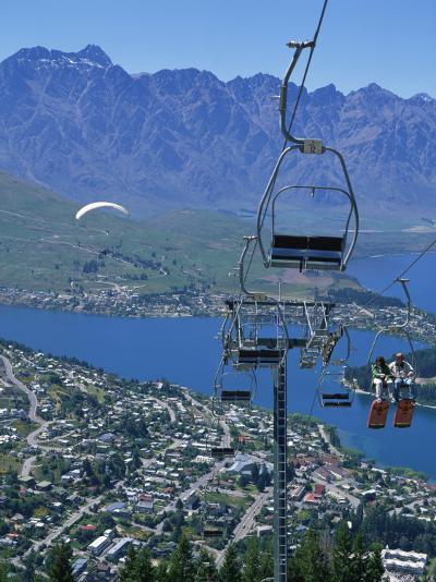 Chair Lift with Lake Wakatipu, the Remarkable Mountains and Queenstown, South Island, New Zealand-Jeremy Bright-Photographic Print