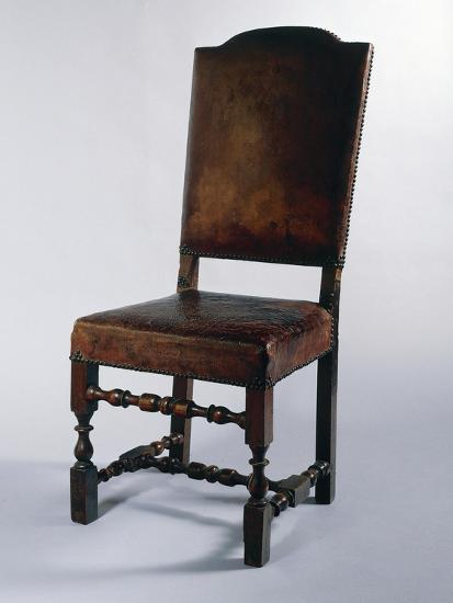 Chair with Leather Cover, Made in Parma, Soragna Castle, Emilia Romagna, Italy--Giclee Print