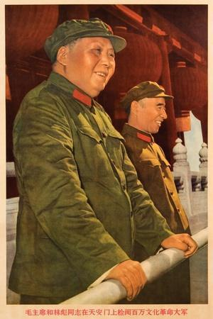 Chairman Mao and Comrade Lin Biao on Tiananmen Rostrum Reviewing a Million People--Giclee Print
