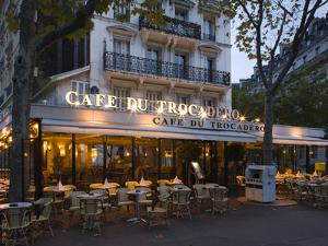 Chairs and Tables in a Restaurant at Dawn, Cafe Du Trocadero, Paris, Ile-De-France, France