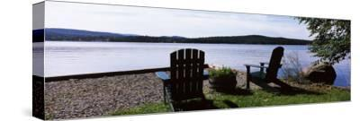 Chairs at the Lakeside, Raquette Lake, Adirondack Mountains, New York State, USA