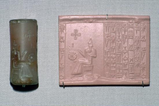 Chalcedony cylinder-seal in the first Kassite style. Artist: Unknown-Unknown-Giclee Print