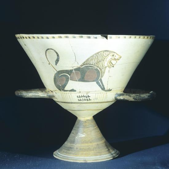 Chalice Showing Figure of Lion, Terracotta from Tomb 221 in Ancient Necropolis in Hagia Paraskevi--Giclee Print