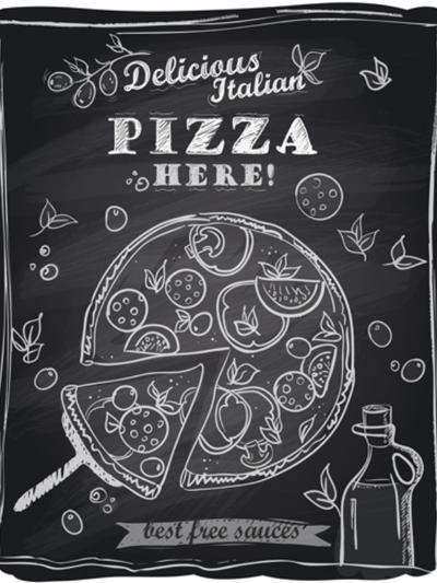 Chalk Pizza with the Cut Off Slice-Selenka-Art Print