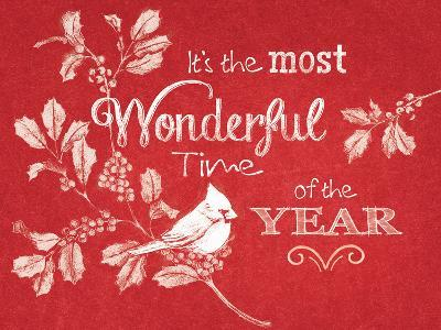 Chalkboard Christmas Sayings VI on red-Beth Grove-Art Print