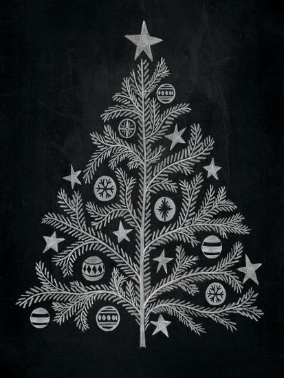 Chalkboard Holiday Trees II-Mary Urban-Art Print