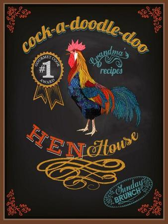 Chalkboard Poster for Chicken Restaurant-LanaN.-Art Print