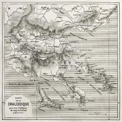 Chalkidiki Old Map, Greece. Created By Vuillemin, Published On Le Tour Du Monde, Paris, 1860-marzolino-Art Print
