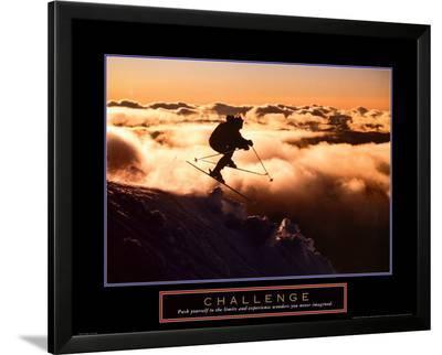 Challenge: Skier in Clouds--Framed Art Print