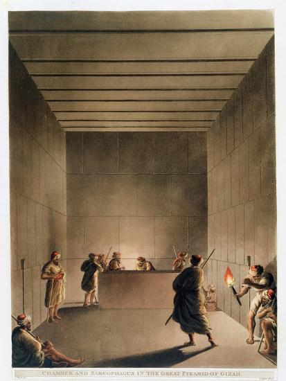 'Chamber and Sarcophagus in the Great Pyramid of Giza', Egypt, 1802-Thomas Milton-Giclee Print