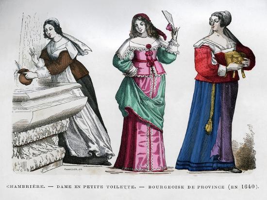 Chambermaid, Lady and Provincial Bourgeoise Lady, 1640 (1882-188)- Tamisier-Giclee Print
