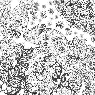 Chameleon in Fantasy Forest. Animals. Hand Drawn Doodle. Ethnic Patterned Illustration. African, In- Palomita-Art Print