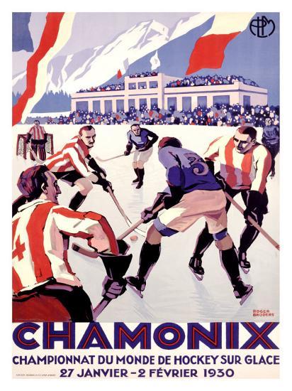 Chamonix, Hockey-Roger Broders-Giclee Print