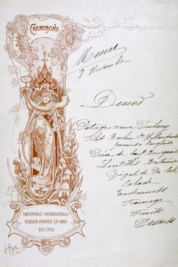 Champagne Advertisement on a Menu, 19th Century--Giclee Print