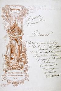 Champagne Advertisement on a Menu, 19th Century