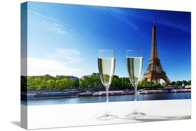 Champaign Glasses Eiffel Tower--Stretched Canvas Print