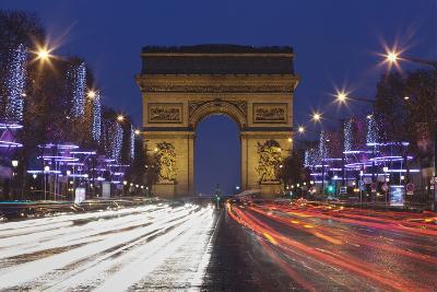 Champs Elysees and Arc De Triomphe at Christmas, Paris, Ile De France, France, Europe-Markus Lange-Photographic Print