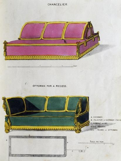 Chancelier Sofa and Ottoman for Recess by George Smith from Cabinet Maker and Upholsterer's Guide--Giclee Print