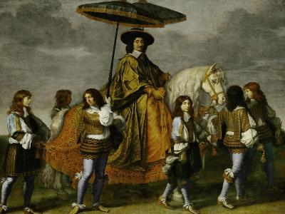 Chancellor Pierre Seguier on Horseback, Leading His Horse is the Young Louis XIV-Charles Le Brun-Giclee Print