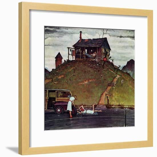 """""""Changing a Flat"""", August 3,1946-Norman Rockwell-Framed Giclee Print"""