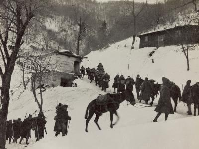 Changing of the Guard in the Valley Doblar During the First World War-Luigi Verdi-Photographic Print
