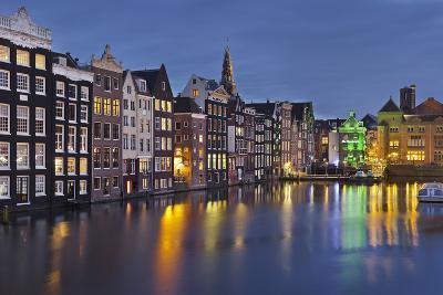 Channel Houses Damrak, Steeple of 'Oude Kirk', Amsterdam, Netherlands-Rainer Mirau-Photographic Print
