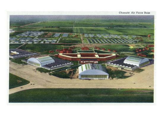 Chanute Air Force Base, Illinois, Aerial Panoramic View of the Base-Lantern Press-Art Print