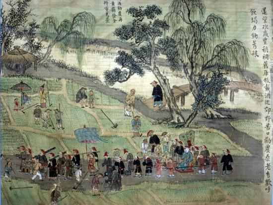 Chao Hsia visiting the fields, encouraging people to plant Mulberry trees-Unknown-Giclee Print
