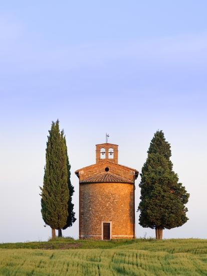 Chapel and cypress trees-Frank Lukasseck-Photographic Print