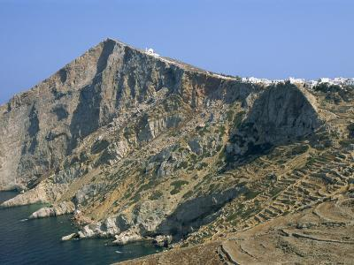 Chapel and Khora, Main Village Perched on Edge of Cliffs, Folegandros, Cyclades, Greece-Richard Ashworth-Photographic Print