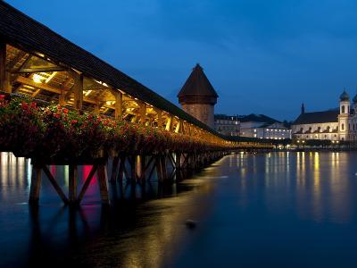 Chapel Bridge at Dusk, Lucerne, Switzerland, Europe-Charles Bowman-Photographic Print