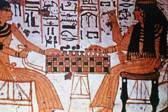 Chapel Interior, Nobles Playing Chess, Thebes, Egypt Artist: Unknown-Unknown-Giclee Print