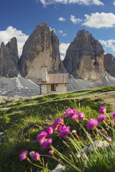 Chapel, Tre Cime Di Lavaredo (Three Merlons), South Tyrol, the Dolomites Mountains, Italy-Rainer Mirau-Photographic Print