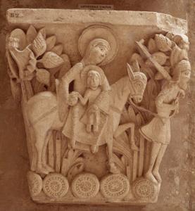 Chapiteau historié de la cathédrale Saint-Lazare d'Autun : la Fuite en Egypte