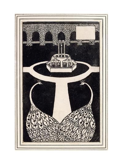 Chapter Heading Depicting Two Peacocks in a Garden with a Fountain, C.1893/4-Aubrey Beardsley-Giclee Print