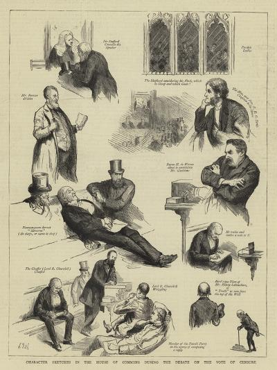 Character Sketches in the House of Commons During the Debate on the Vote of Censure-Sydney Prior Hall-Giclee Print