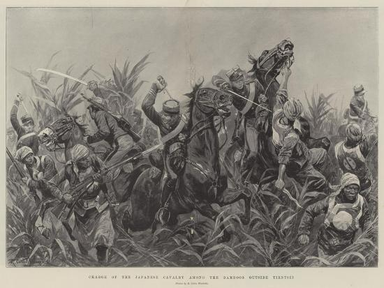 Charge of the Japanese Cavalry Among the Bamboos Outside Tientsin-Richard Caton Woodville II-Giclee Print