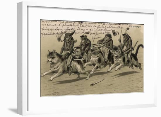Charge of the Monkey Brigade' Monkeys in Military Uniform Riding Cats--Framed Giclee Print