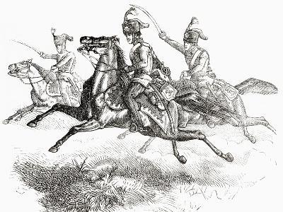 Charging Hussars or Hussards, from 'L'Univers Illustré', 1866--Giclee Print