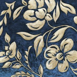 Indigo and Cream Brocade I by Chariklia Zarris