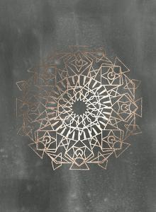 Rose Gold Foil Mandala I on Black Wash by Chariklia Zarris