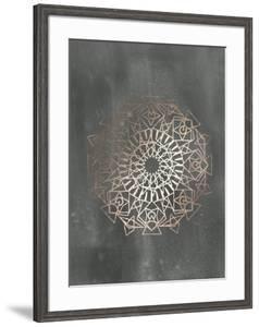 Rose Gold Foil Mandala I on Black Wash by Chariklia Zarris