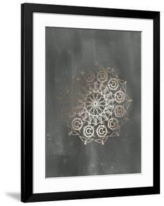 Rose Gold Foil Mandala III on Black Wash by Chariklia Zarris