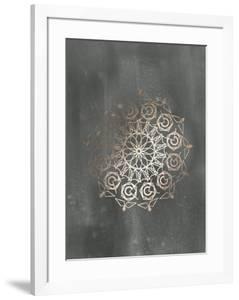 Rose Gold Foil Mandala III on Black Wash by Chariklia Zarris